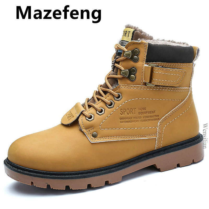 Winter Men Boots Pu Leather Ankle Boots Lace-up Men Sneakers Warm Waterproof Snow Motorcycle Boots Plush Zapatos De Hombre