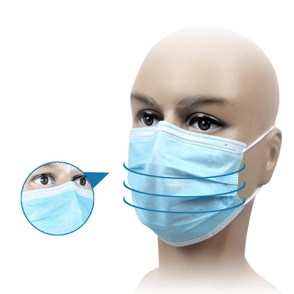 50PCS Disposable Earloop Face Mouth Masks 3 Layers Anti-virus Mask Anti-Dust Mask Safe Breathable Mouth Mask Surgical Mask