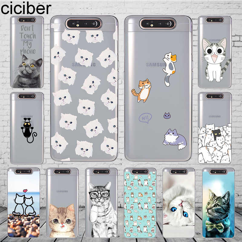 ciciber Phone Case Cover for Samsung Galaxy A50 A70 A80 A60 A40 A30 A20 A10 A20e Soft Silicone TPU Funda Capa Cartoon Animal Cat