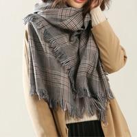 Fashion Large Scarves Women Long Tasssels Winter Wool Soft Warm Plaid Scarf Wrap Shawl Tartan Scarves