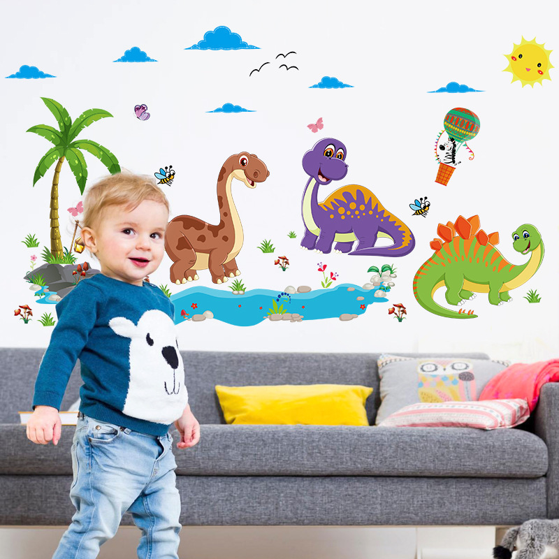 Friendly Dinosaur Wall Stickers for Kids Rooms Cartoon Animals Home Decor Bedroom Decorative Vinyl for Walls PVC Room Decoration