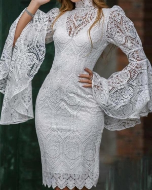 Abiye Knee Length Short Lace Cocktail Dresses With Embroidery High Neck Sheath Robe De Soriee Sexy Prom Party Gowns