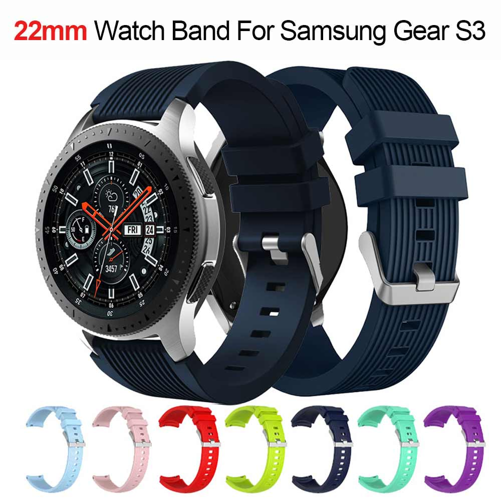 22mm Silicone Watch Band For Samsung Galaxy Watch 46mm Gear S3 Frontier Strap Classic Smart Watch Bracelet Smart Accessories