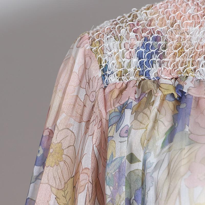 Chiever Casual Print Patchwork jumpsuits mujer linterna de cuello alto manga larga de cintura alta de encaje Up jumpsuit mujeres 2019 Tide - 5