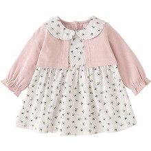 Kız Elbise Peter Pan Yaka Baskı Prenses Kız Elbise Sonbahar Giysileri Çocuk Kostüm Kız gündelik giyim 0 5Y