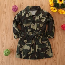 Camouflage Baby Girl Clothes 2019 Autumn Children's Coat Turn-down Collar Long Sleeve Kids Trench Coat For Girls 2-7 Years D30 недорого