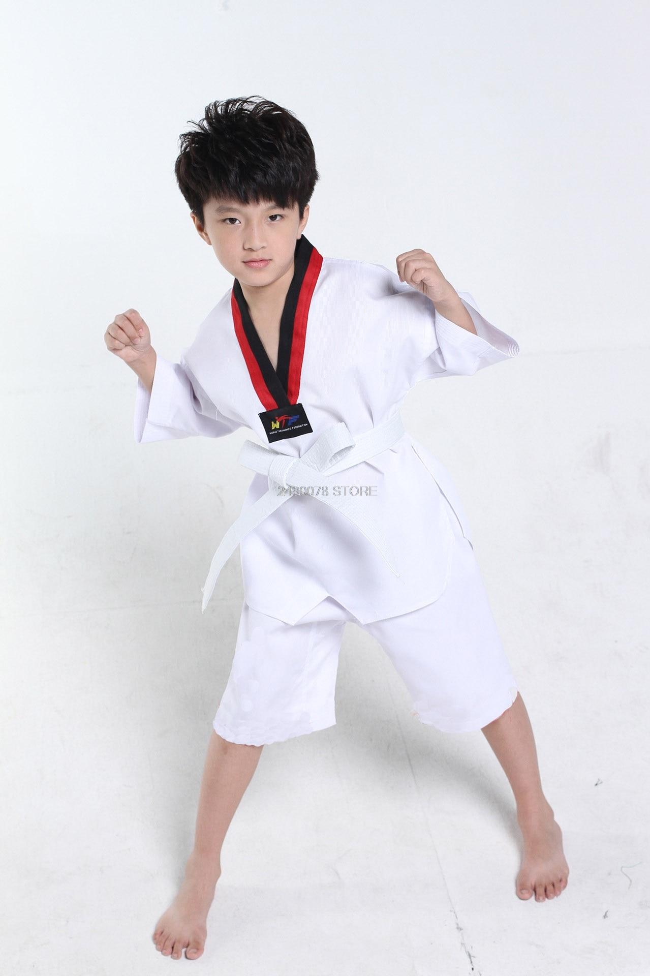 Children Kimono Judo Kickboxing Practice Costume White Kids Boys Girls Taekwondo Suit Karate Tae Kwon Do Clothes F106 3
