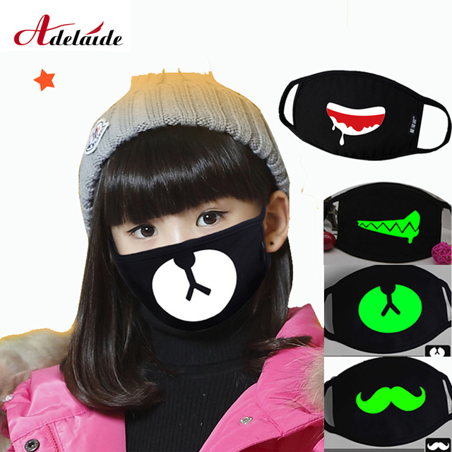 Kids Cartoon Mask Cotton Dustproof Anime Kpop Lucky Bear Girls Boys Glow In Dark Skull Mouth Masks Black Mouth Half Muffle Mask