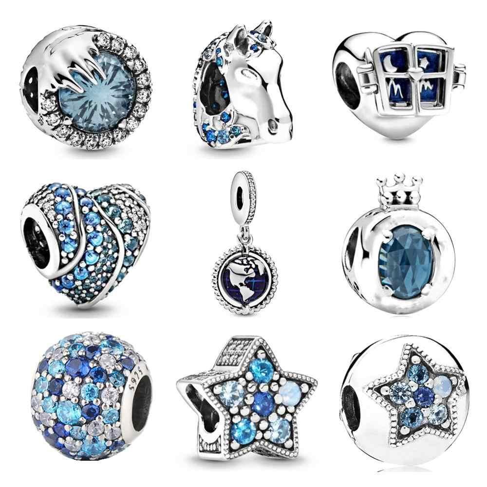 Ajuste original pandora encantos pulseira 925 prata esterlina zircão congelado inverno cristal charme grânulo diy jóias fazendo berloque