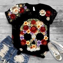 Tee-Tops T-Shirt Skull-Printed Plus-Size Women Short-Sleeve Hipster O-Neck Punk Streetwear