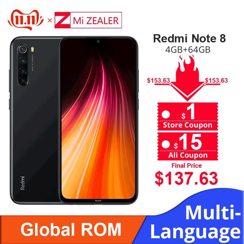 "Global ROM Xiaomi Redmi Note 8 4GB RAM 64GB ROM Octa Core Smartphone Snapdragon 665 48MP 6.3"" Screen Fast Charger Cellphone-in Cellphones from Cellphones & Telecommunications"
