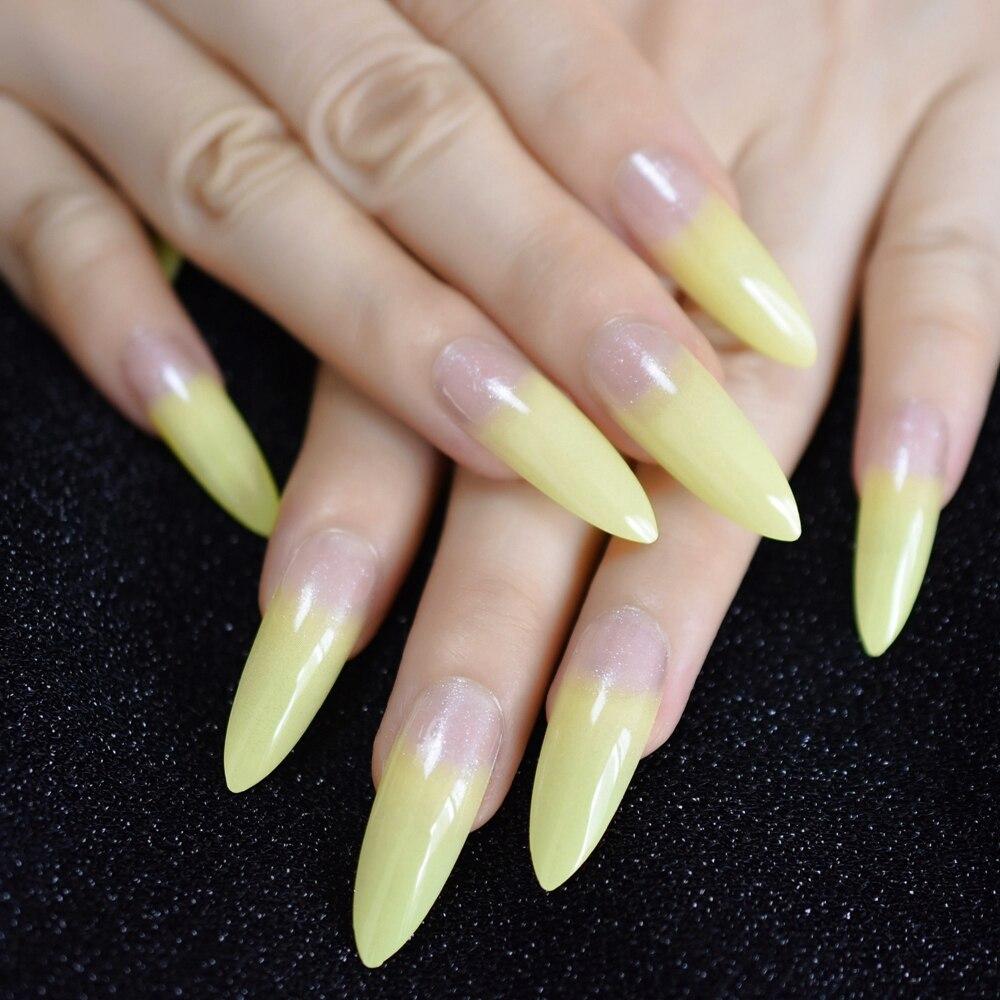 Роскошные поддельные ногти дизайнерские удлиненные Омбре французские украшения предварительно разработанные ногти натуральные шпильки AB Украшение камнями Типсы - Цвет: L5258