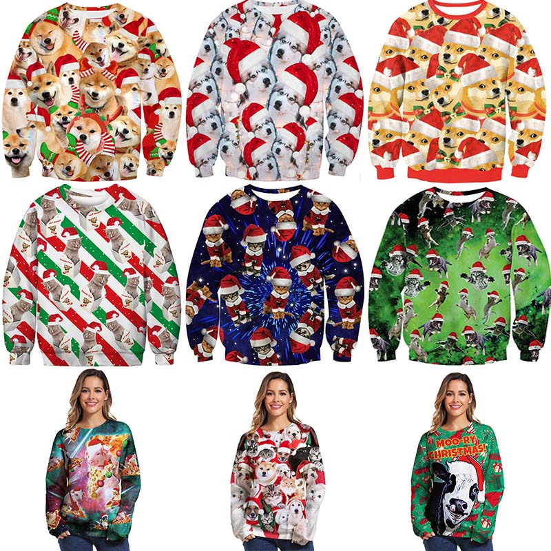 Ugly Christmas Sweater For Holidays Santa Elf Printed Novelty Autumn Female Male Spoof Christmas  Clothing Funny  Unisex Sweater