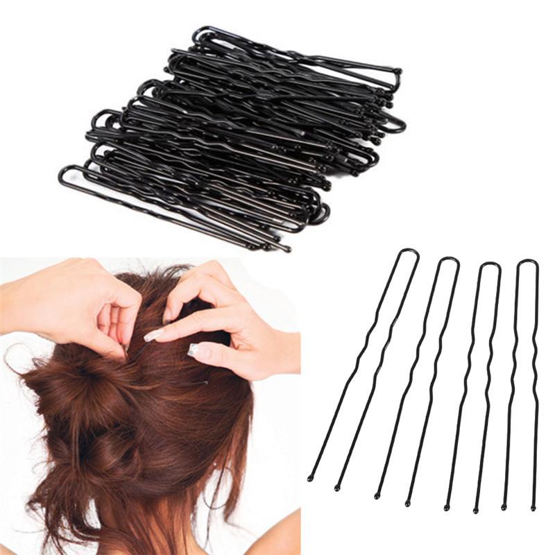 50pcs 6CM Hair Waved U shaped Bobby Pin Barrette Salon Grip Clip Hairpins Black Metal Hair Accessories For Bun