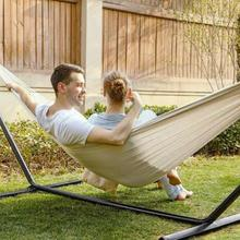 Boho Style Hammock Outdoor Double Hammock Rollover Prevention Camping Canvas Hammock Travel Hiking Hanging Hammock