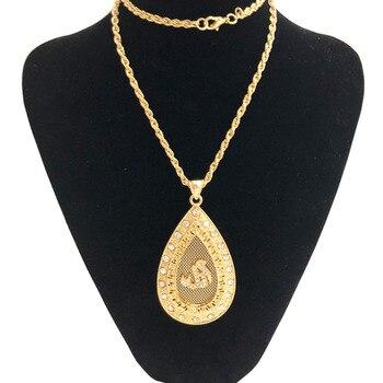 ¡Novedad! Colgante de Alá de cobre, colgante de gota de agua a la moda, collar de argelino, joyería de boda, collar de cadena real, colgante de Alá en oro
