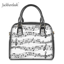 Jackherelook White Music Notes Print Hand Bag for Ladies She