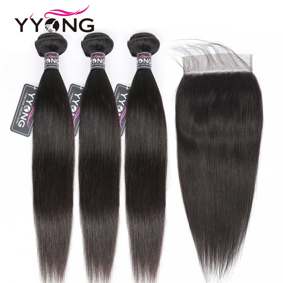 Yyong 7x7 Closure With Straight Bundles Remy Indian Straight Bundles With Closure Human Hair Weave Bundles With Lace Closure