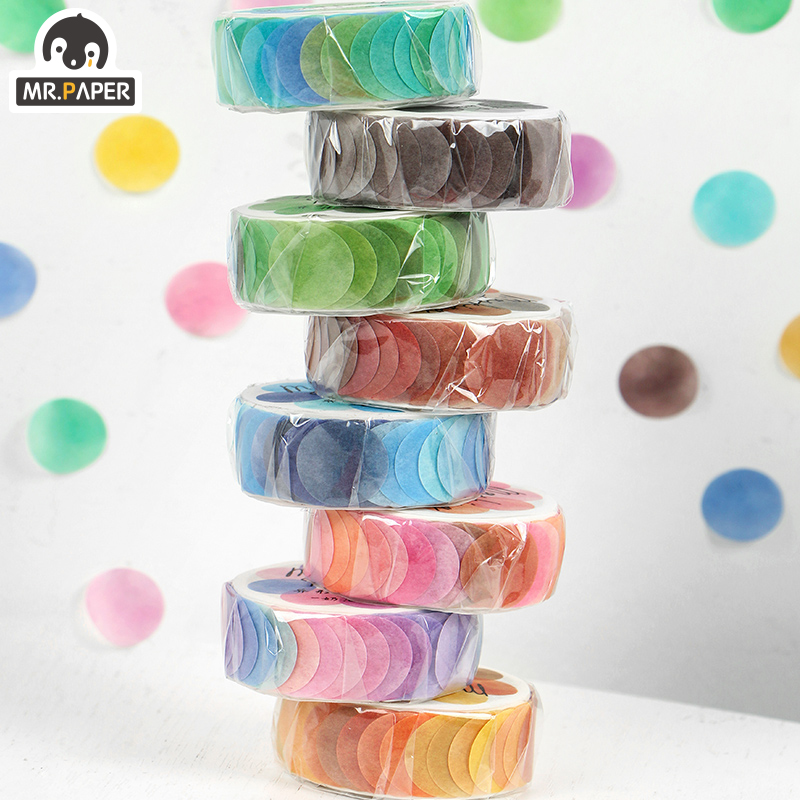 Mr.Paper 14*14mm Hard Candy Dot Color Washi Bullet Journaling Writing Washi Tape Deco Gift Label Ins Masking Tapes Easy to Tear 2
