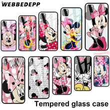 Tempered Glass Soft Border Case for iPhone 11 Pro XS Max XR X 8 7 6S 6 Plus 5S SE 230N Minnie Mouse Girls Cute(China)