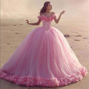 3D Flowers Quinceanera Dress Pink Ball Gown Princess Corset Tulle Sparkles Sweet 16 Dresses Vestido De Debutante