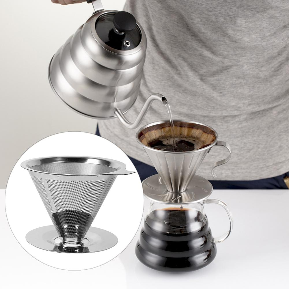 Hot Stainless Steel Reusable Coffee Filter Holder Pour Over Mesh Tea Dripper Cup Reusable  Tea Holder  Durable