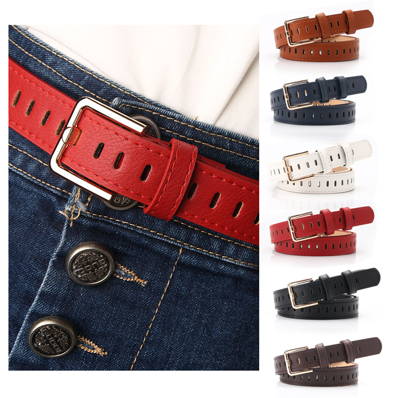 Red Female Belt Design Faux Leather Belt Female Hollow Out Pin Buckle Belts For Women Waistband Retro Waist Strap Belt For Jeans