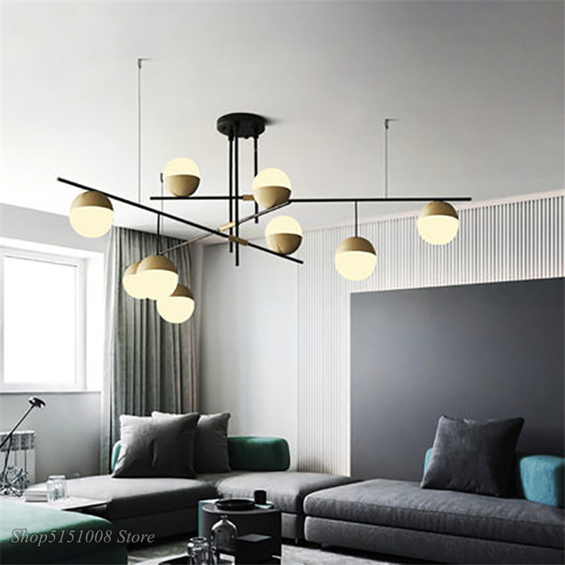 Post-modern LED Chandeliers Lighting Industrial Designer Pendant Lamp Glass Ball Hanging Lamp Luminaire Living Room Home Decor