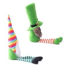 OOTDTY Patricks günü Tomte peluş bebek İrlandalı leprikon İskandinav Gnome Nisse yonca tatil süsler süslemeleri