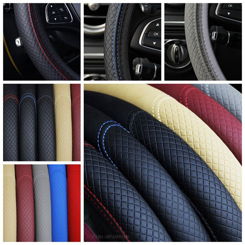 For Car Steering Wheel Cover Breathable Protector Anti Slip PU Leather Steering Covers Black Suitable 37-38cm Auto Decoration