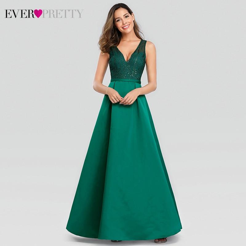 Sparkle Prom Dresses Long Ever Pretty A-Line Double V-Neck Tulle Elegant Formal Dresses For Party Vestidos Largos De Fiesta
