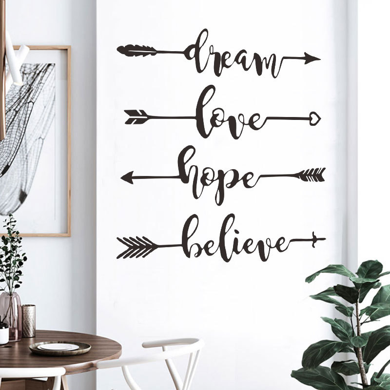 Dream Love Hope Believe art English Wall Sticker Inspirational Office Wallpaper Living Room Bedroom Decoration Home Stickers