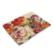 Rose Flower Kitchen Placemat Cotton Linen Pad Bowl Cup Mat Dining Table Mats Coaster 42*32cm Home Decor