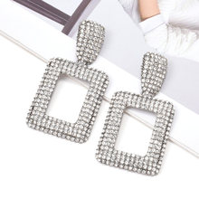 Hot Sell ZA New Square Metal Drop Long Earrings Studded With Full Clear Crystals Hot Fine Jewelry Accessories For Women Christmas Gift(China)