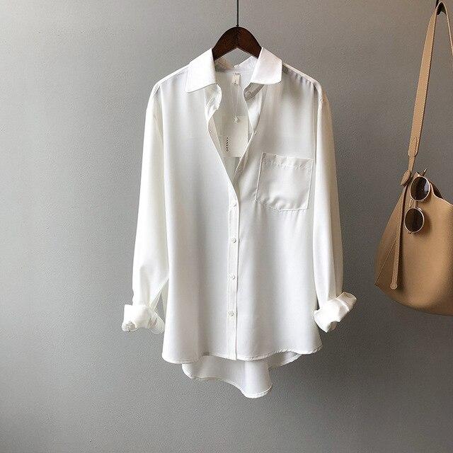 White Women Blouse Ol Commuting 2021 Spring Lapel Long Sleeve Women Blouses Office Fashion Elegant Loose White Women Shirt Top 6