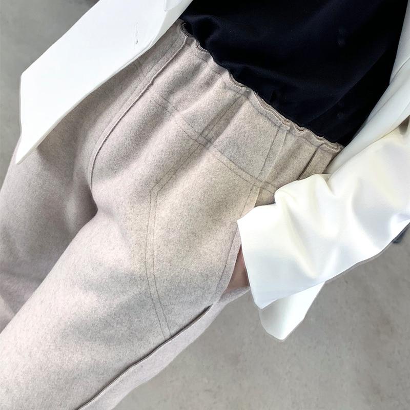 Autumn Winter Women Elastic Woolen Pant Female Plus Size Casual Trousers Black/Gray Harem Pants Winter Wool Ankle-Length Pants