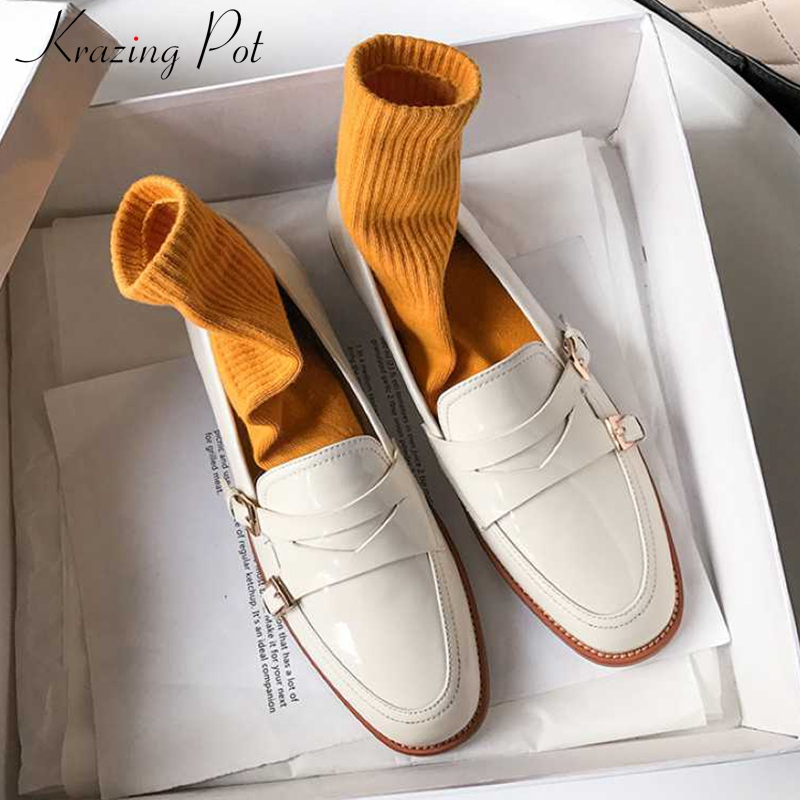 Krazing Pot New Genuine Leather Fashion Buckle Straps Leisure Shoes Round Toe Med Heels Slip On Loafers Women Cozy Pumps L09
