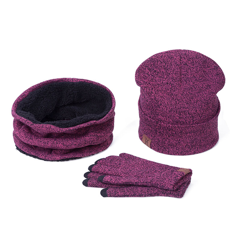 Winter Warm Cap Scarves Gloves Set Comfortable Woolen Hat Scarf Gloves