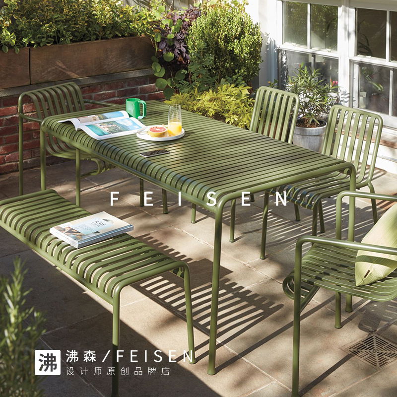 Chair-Set Outdoor-Table And Modern Cafe Combination Tea-Shop Milk Iron-Color Courtyard