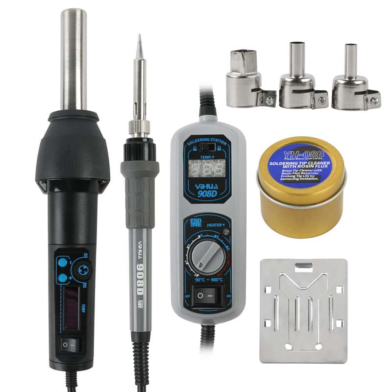 Original YiHua Adjustable Constant temperatur digital display 908D soldering iron station 8858I Hot air station image