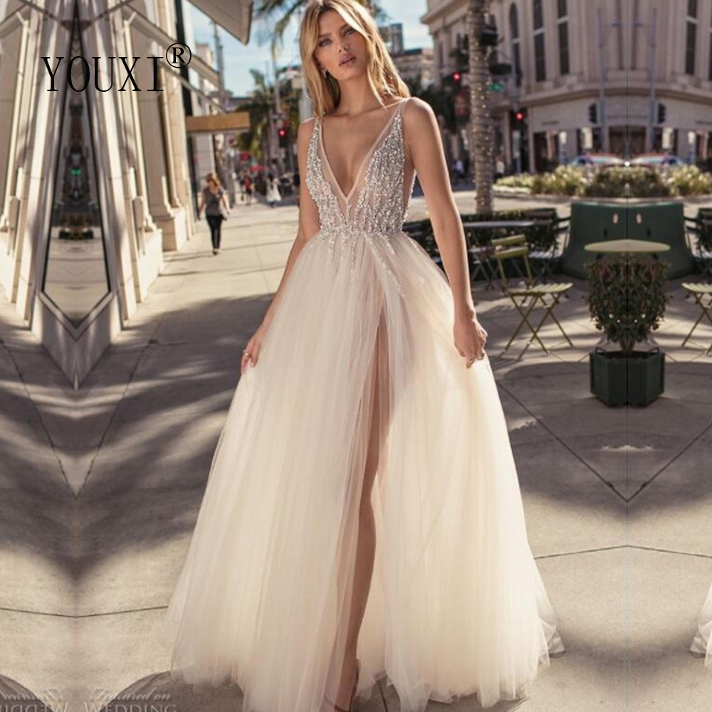 Charming 2019 Tulle Evening Gowns Backless V-Neck High Split Sexy Prom Party Gowns Custom Made Special Occasion Dresses Cheap