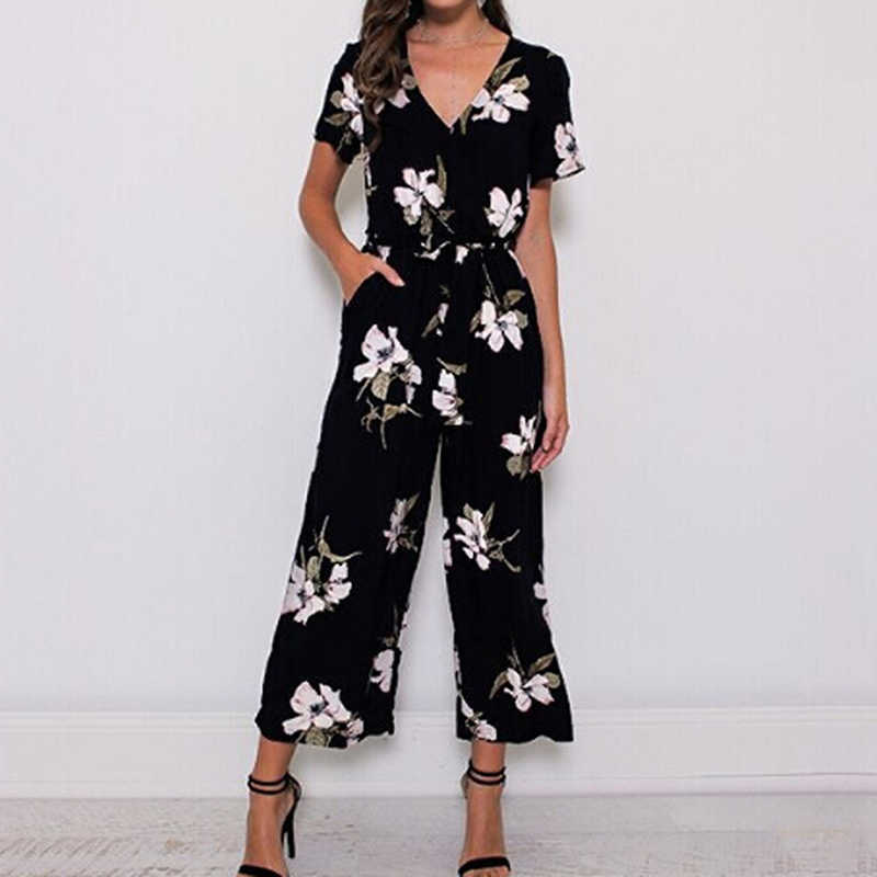 2019 Summer Vintage Floral Print Boho Jumpsuit Romper Casual V Neck Short Sleeve Jumpsuit Loose Belt Work Overalls Plus Size 5XL