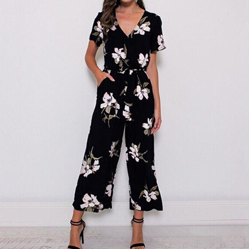 2019 Summer Vintage Floral Print Boho Jumpsuit Romper Casual V Neck Short Sleeve Jumpsuit Loose Belt Work Overalls Plus Size 5XL