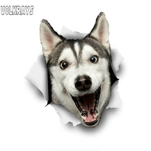 Volkrays Cute 3D Car Sticker Happy Husky Dog Waterproof Cover Scratch PVC Decal for Auto Laptop Bicycle Helmet Windows,15cm*15cm(China)