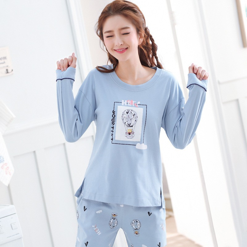 Women Pajama Sets Long-sleeved Casual Suit Cute Cartoon Print Pajamas Set Home Service Two-piece Homewear Sleepwear