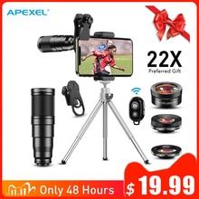 Apexel 2020 novo hd kit de lente da câmera do telefone 4in1 telefoto zoom monocular telescópio 22x macro lente olho peixe largo com tripé remoto