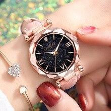 Reloj de pulsera de cuarzo de moda para mujer, reloj de pulsera de cuarzo con esfera redonda de cielo estrellado, reloj con número de diamante de imitación Romano