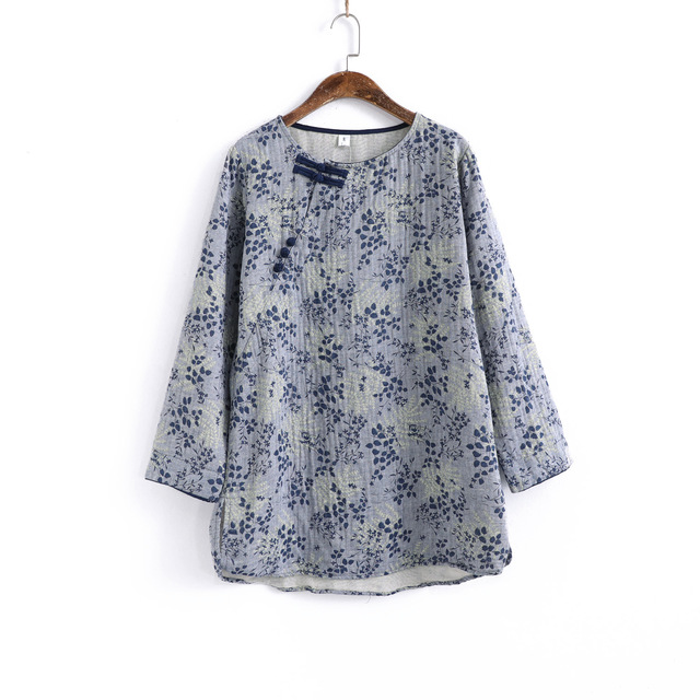 Women Autumn Printed Loose Cotton Linen Blouse Tops Ladies Vintage Shirt Female 2020 Spring Blouses Tops Shirts 1