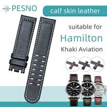 Ремешок для часов Pesno из натуральной телячьей кожи, подходит для Гамильтона хаки, ремешок с гладкой текстурой, браслет на запястье с бамбуковой текстурой