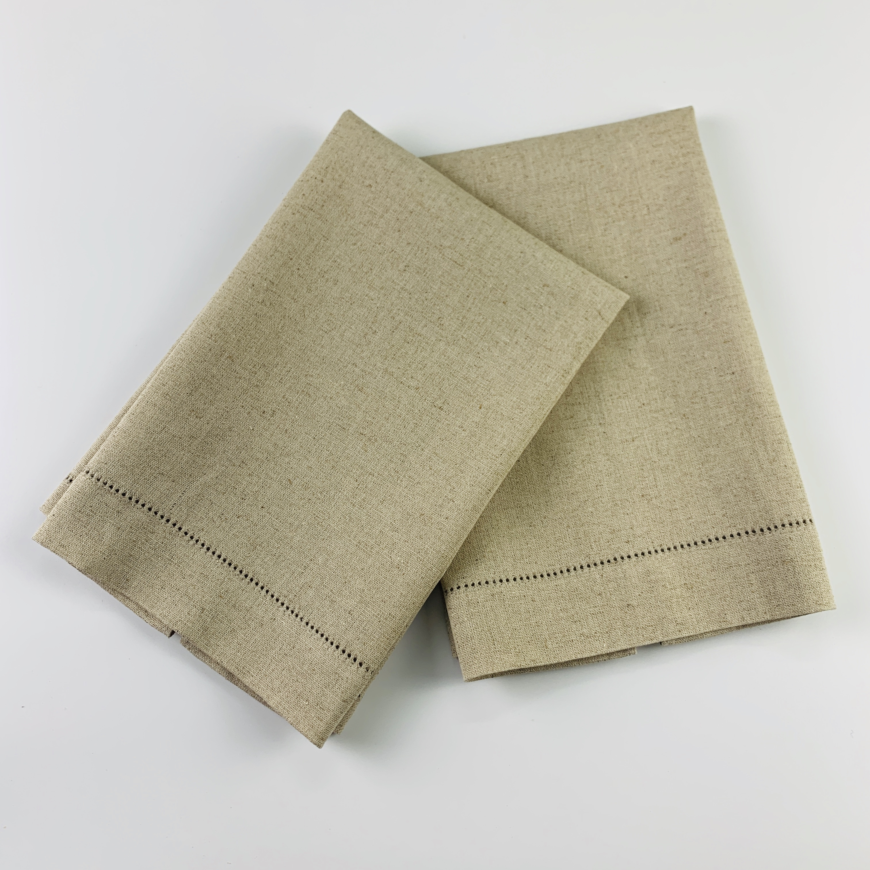 12 PCS Fashion Guest Towels With Embroidered Hemstitch Border Oatmeal Color Linen Hand Towel Make Any Guest Feel Welcome 14